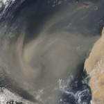Tempête de sable vue de l'espace