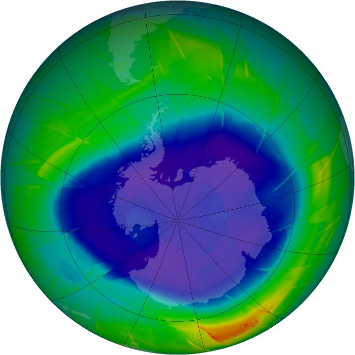 Le trou de la couche d'ozone le 10 septembre 2009
