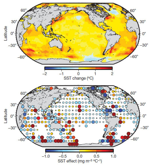 Température de la surface de la mer et changement de la concentration de chlorophylle