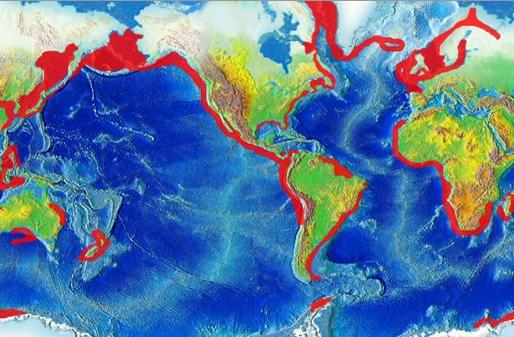 Carte mondiale des régions de remontées côtières d'eau