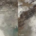 Vue du smog dans la région de Beijing vue de l'espace