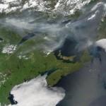 Nuage de fumée des feux de forêts au Saguenay/Lac-Saint-Jean