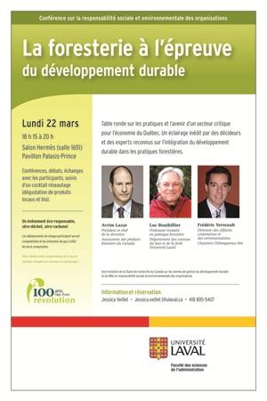 Affiche de la conférence sur la foresterie