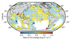 Taux de variation de la concentration moyenne de chlorophylle