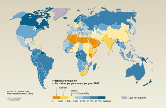 Volume d'eau disponible par pays